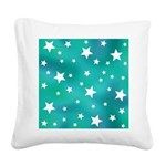 Turquoise Blue and White Stars Square Canvas Pillo