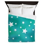 Turquoise Blue and White Stars Queen Duvet
