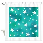 Turquoise Blue and White Stars Shower Curtain