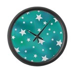 Turquoise Blue and White Stars Large Wall Clock