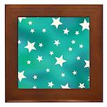 Turquoise Blue and White Stars Framed Tile