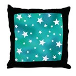 Turquoise Blue and White Stars Throw Pillow