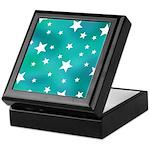 Turquoise Blue and White Stars Keepsake Box