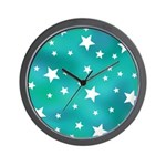 Turquoise Blue and White Stars Wall Clock