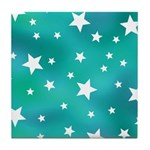 Turquoise Blue and White Stars Tile Coaster