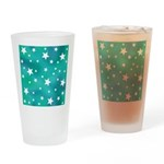 Turquoise Blue and White Stars Drinking Glass