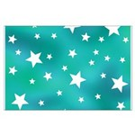 Turquoise Blue and White Stars Poster Art
