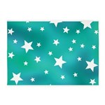 Turquoise Blue and White Stars 5'x7'Area Rug
