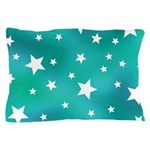 Turquoise Blue and White Stars Pillow Case