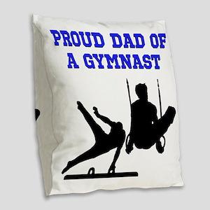 GYMNAST DAD Burlap Throw Pillow