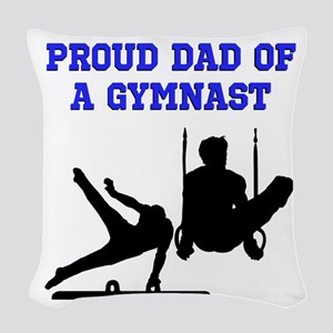 GYMNAST DAD Woven Throw Pillow
