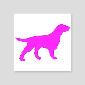 Pink Flat Coated Retriever Silhouette Sticker
