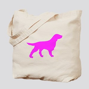 Pink Flat Coated Retriever Silhouette Tote Bag