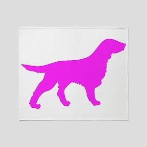 Pink Flat Coated Retriever Silhouette Throw Blanke