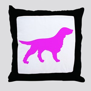 Pink Flat Coated Retriever Silhouette Throw Pillow