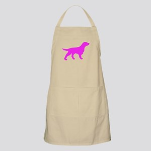 Pink Flat Coated Retriever Silhouette Apron