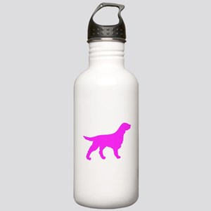 Pink Flat Coated Retriever Silhouette Water Bottle