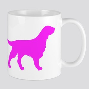 Pink Flat Coated Retriever Silhouette Mugs