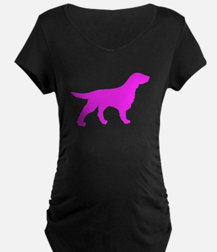 Pink Flat Coated Retriever Silhouette Maternity T-