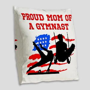 GYMNAST MOM Burlap Throw Pillow