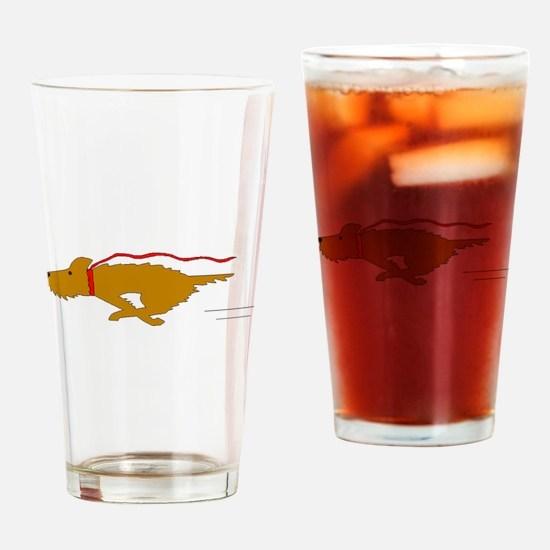 Dog Running Drinking Glass