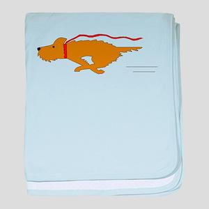 Dog Running baby blanket