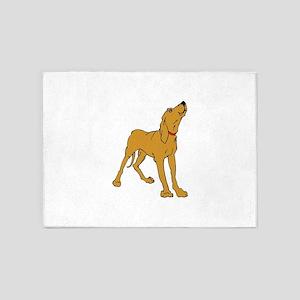 Redbone Coonhound 5'x7'Area Rug