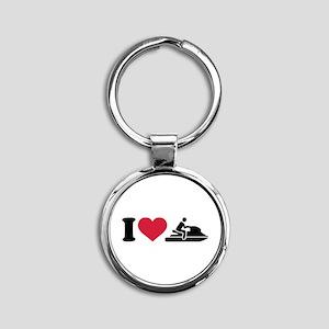 I love Jet ski racing Round Keychain