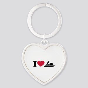 I love Jet ski racing Heart Keychain