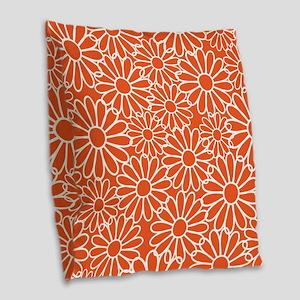 Daisy Flowered Burlap Throw Pillow