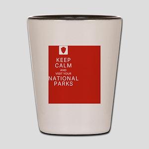 NPF keep calm red Shot Glass