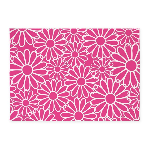 Daisies Pattern Hot Pink 5'x7'Area Rug By MainstreetHomewares2