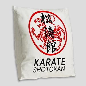 Shotokan Karate symbol and Kan Burlap Throw Pillow