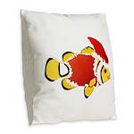 Christmas Clownfish Burlap Throw Pillow