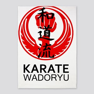 Wadoryu Karate Symbol and Kanji 5'x7'Area Rug