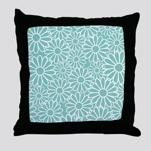 Flower Pattern Teal Throw Pillow