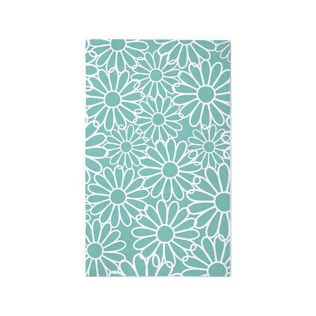 flower pattern teal 3 39 x5 39 area rug by mainstreethomewares2. Black Bedroom Furniture Sets. Home Design Ideas