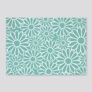 Flower Pattern Teal 5'x7'Area Rug