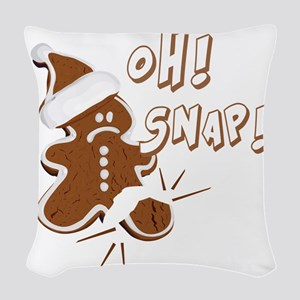 FUNNY OH Snap Gingerbread Man Woven Throw Pillow