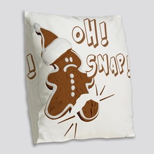 FUNNY OH Snap Gingerbread Man Burlap Throw Pillow