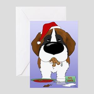 St. Bernard Santa's Cookies Greeting Card