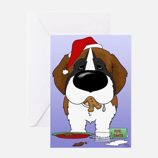 St. Bernard Santa's Cookies Greeting Card