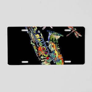 Sax on black Aluminum License Plate