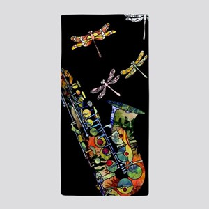Sax on black Beach Towel