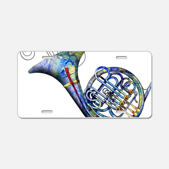 French Horn Aluminum License Plate