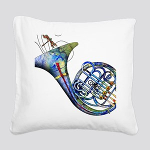 French Horn Square Canvas Pillow