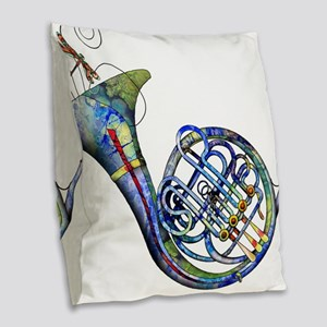 French Horn Burlap Throw Pillow