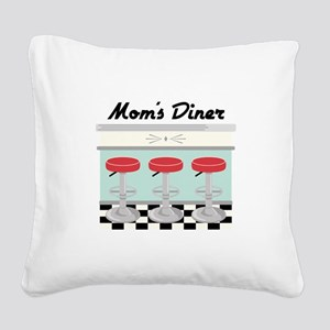 Mom's Diner Square Canvas Pillow