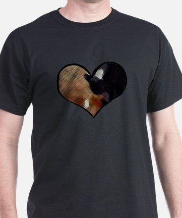 Dogs and Cats in a Heart Shaped Yin Yang T-Shirt