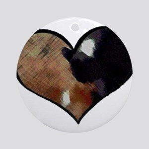Dogs and Cats in a Heart Shaped Y Ornament (Round)